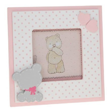 Tiny Ted Spot Frame in Pink 9x9